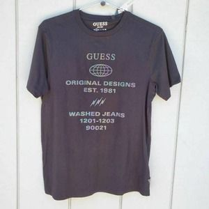 Guess Mens Graphic T-Shirt Black S New